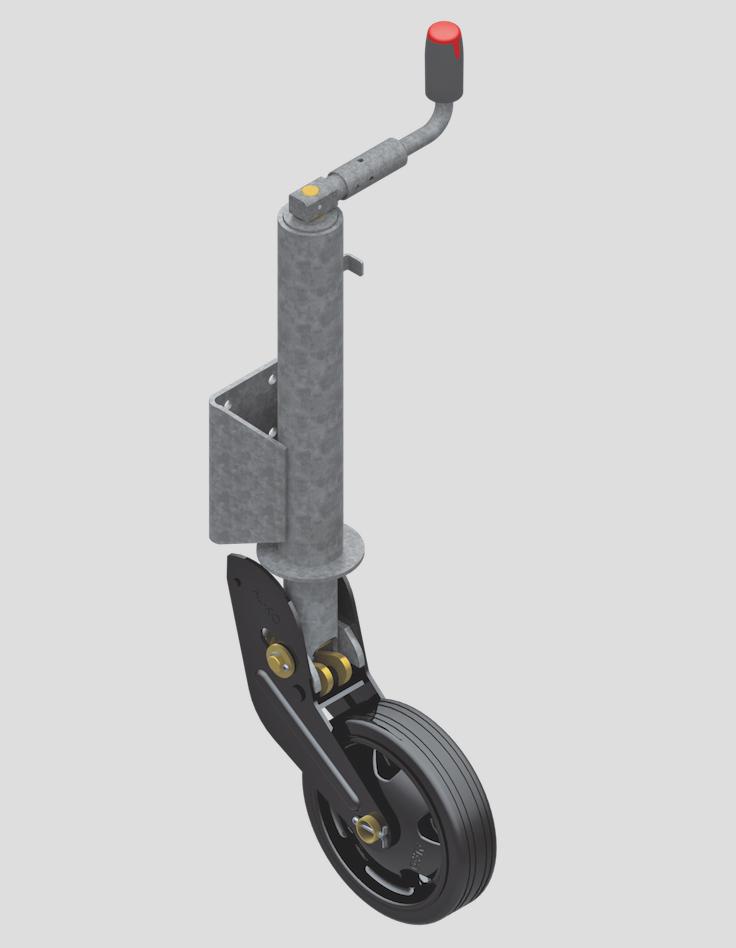 185069fae29 AL-KO fuldautomatisk galvaniseret næsehjul - støttehjul 'PROFI'. Hjul str.  260 x 65